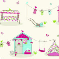 Summer House Fabric Pink