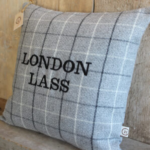 London Lass Grey Check Cushion
