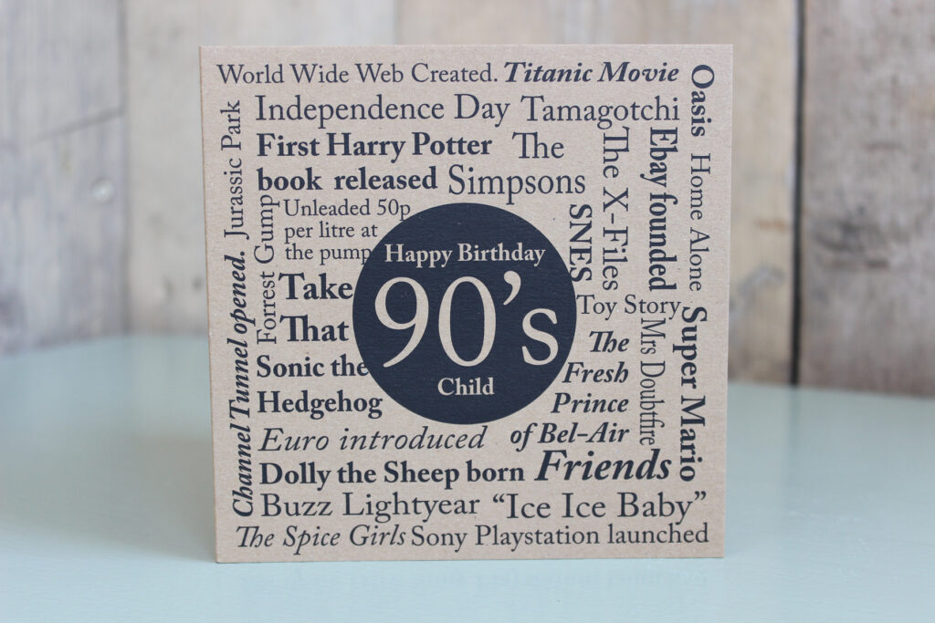 Birthday Card Born In The 90s The Little Button Co