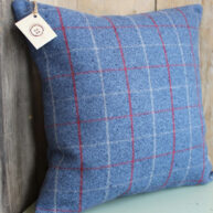 Blue Square Check Cushion