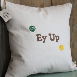 Ey Up Rose Cushion