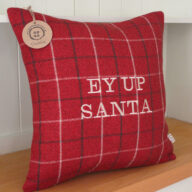 Ey Up Santa Red Cushion